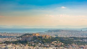 Timelapse вида с воздуха на Афинах, Греции видеоматериал
