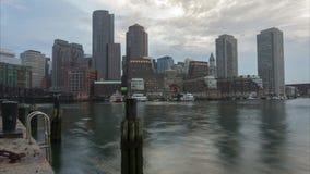 Timelapse горизонта Бостона в Массачусетсе США видеоматериал