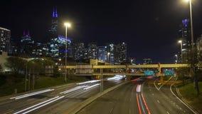 Timelapse горизонта Чикаго межгосударственное акции видеоматериалы
