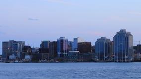 Timelapse горизонт Halifax, Канады как ноча понижается 4K видеоматериал