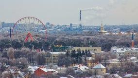 Timelapse города Харькова сверху на зиме Украина видеоматериал