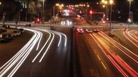 Timelapse городского пейзажа вечером видеоматериал