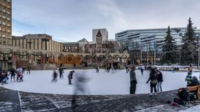 Timelapse катания на коньках, олимпийская площадь, Калгари сток-видео