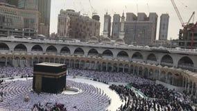 Timelapse мусульманских паломников выполняет молитву после полудня видеоматериал