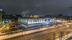 Timelapse ночи взгляд сверху горизонта России города Москвы предпосылка архитектуры пейзажа снега зимы воздушного панорамного гор сток-видео