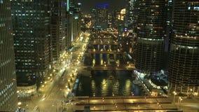 Timelapse ночи проезжей части Чикаго акции видеоматериалы