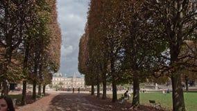 Timelapse посещая Люксембургских садов Прогулка и дворец выровнянные деревом, Париж видеоматериал