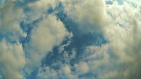 Timelapse свертывать большие белые облака на голубом небе видеоматериал