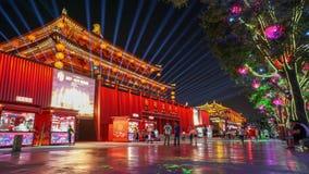 Timelapse светов ночи улицы Xian DaTang акции видеоматериалы