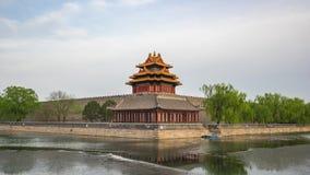 Timelapse угловой башни запретного города в Пекин, промежутке времени Китая акции видеоматериалы