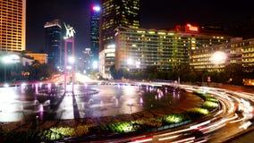 Timelapse шоссе и пруда в Джакарте видеоматериал