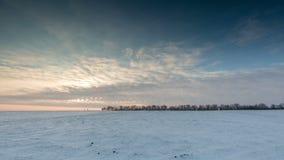 Timelapse 俄国 云彩的运动在日落的在多雪的干草原在冬天 影视素材