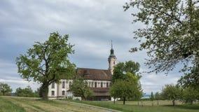 Timelapse -在Birnau教会的移动的云彩  股票视频