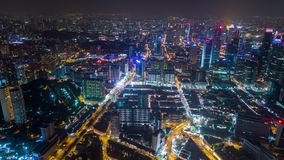 Timelapse aéreo da noite de Singapura alto vídeos de arquivo