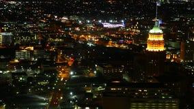 Timelapse aéreo, San Antonio céntrico en la noche 4K almacen de video