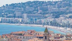 Timelapse aérien de vue supérieure de plage de paysage gentil de jour, France banque de vidéos
