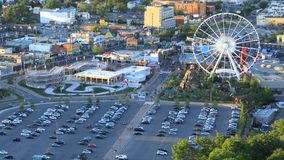 Timelapse aerial of downtown Niagara Falls during day 4K. A Timelapse aerial of downtown Niagara Falls during day 4K stock footage