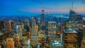 Timelapse aerial of dusk in Manhattan 4K. A Timelapse aerial of dusk in Manhattan 4K stock video footage