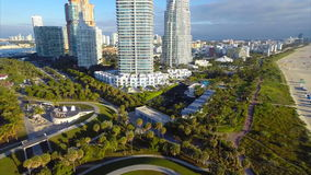 Timelapse aerial flyaway of Miami Beach Stock Photography