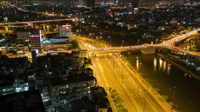 TimeLapse Aerial night view of colorful and vibrant cityscape of Vo Van Kiet street stock video