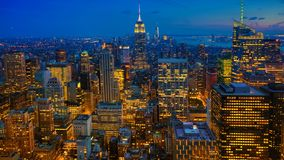 Timelapse aerial sunrise in Midtown Manhattan 4K. A Timelapse aerial sunrise in Midtown Manhattan 4K stock footage