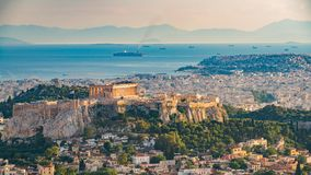 Timelapse of aerial view on Athens, Greece stock footage