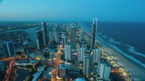 Timelapse Aerial view of Surfers Paradise Queensland Australia stock video footage