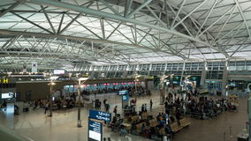 Timelapse of airport, seen people waiting for the flight stock video