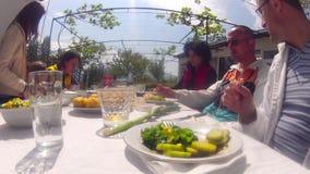 Timelapse al aire libre de la comida campestre de la familia almacen de video