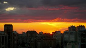 Timelapse of amazing Cityscape Sunset at. Novosibirsk. 1920x1080 stock video footage