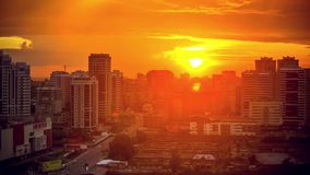 Timelapse of amazing sunset over city from big stock footage