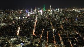 timelapse ancho de 4K UltraHD de Manhattan en la noche almacen de metraje de vídeo