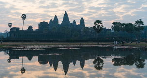Timelapse Angkor Wat and sunrise sky in morning at siem reap cambodia stock video footage