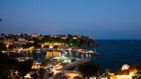 Timelapse of an Antalya old marina in Turkey at night stock footage