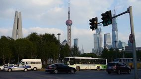 Timelapse,Automobile waiting traffic lights,Shanghai lujiazui business building. stock footage