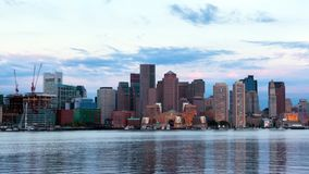 Timelapse av Boston horisont i Massachusetts arkivfilmer