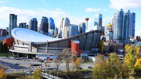 Timelapse av Calgaryen, Alberta centrum 4K lager videofilmer