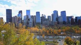 Timelapse av Calgaryen, Kanada centrum 4K arkivfilmer
