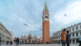 Timelapse av Campanile di San Marco och slotten för Palazzo Ducale doge` s i Venedig, Italien Kolonner av San Marco och San stock video
