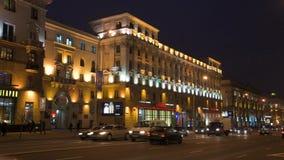 Timelapse av den blåa timmen i Minsk, Vitryssland lager videofilmer