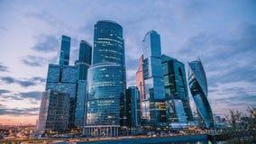 Timelapse av den internationella affärsmitten för Moskva, Moskva-stad, 30 fps arkivfilmer
