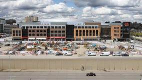 Timelapse av den lilla Caesars arenan i Detroit 4K arkivfilmer