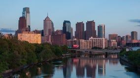 Timelapse av den philadelphia horisonten - Pennsylvania USA Royaltyfri Bild