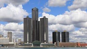 Timelapse av det Detroit centret över Detroitet River 4K stock video
