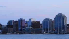 Timelapse av Halifaxen, Kanada horisontdag till natten 4K arkivfilmer