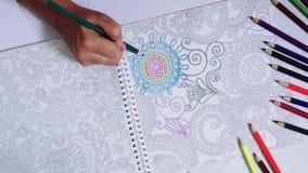 Timelapse av kulöra blyertspennor och kvinnan i tid av teckningen och färgläggning på vitbokbakgrund med konstmålning arkivfilmer