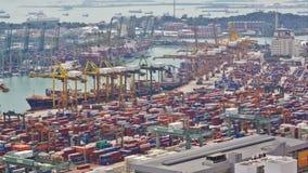 Timelapse av porten av Singapore stock video