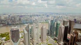 Timelapse av Shanghai Lujiazui det finansiella omr?det och Huangpu River, Shanghai, Kina stock video