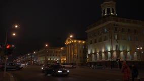 Timelapse av självständighetavenyn i i stadens centrum Minsk, Vitryssland lager videofilmer