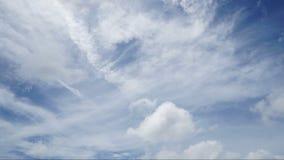 Timelapse av vit fördunklar spring över blå himmel arkivfilmer